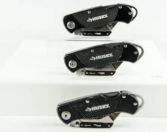Lot of 3 Husky Folding Lock Back Utility Knife Box Cutter