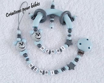 """Duo pacifier and rattle custom beads wooden boy """"Mouse"""""""
