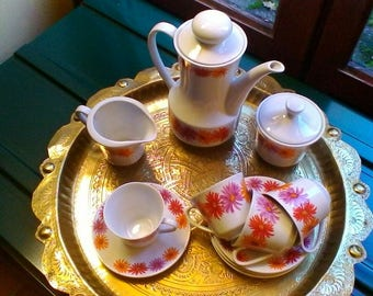 WEIDEN floral coffee set - very pretty Bavarian porcelaine vintage coffee set for 4