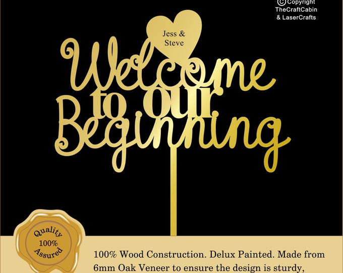 Welcome to our Beginning 'Delux' Personalised Cake Topper. Couple, Engagement, Anniversary: Various Colours