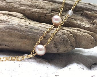 Long Pink Fresh-water Pearl Necklace Gold on Silver with rose Quartz