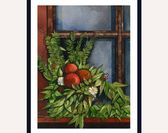 Pomegranate Window Print || Watercolor Print