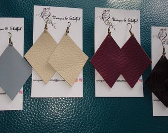 REDUCED. Diamond drop leather earrings -introductory price