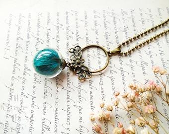 Hydrangeas pendant, floral necklace, dried flowers necklace, dry flower pendant,terrarium necklace, vintage necklace, botanical jewellery
