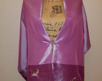 Hand stitched pink two-tone shimmer butterfly oriental shoulder wrap with front closure