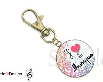 Keychain I love music blue purple pink music note - I LOVE MUSIC