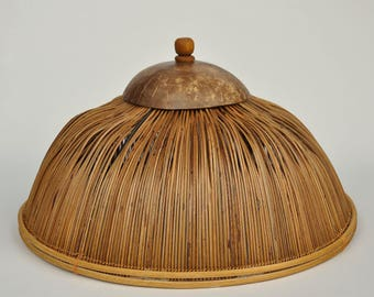 vintage bamboo food cloche // vtg cloche // outdoor entertaining // food cover