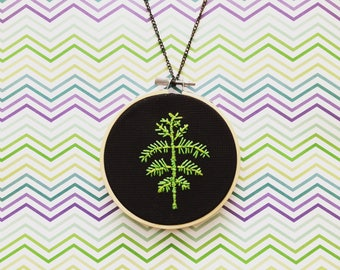 Feel The Fern Embroidery Hoop Necklace