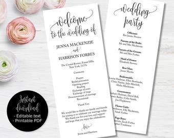 Wedding Day Program Template, Wedding Ceremony Order of Service Booklet Program, Church or Civil Service Wedding Program Template Printable