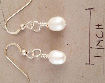 Large fresh water pearl earrings