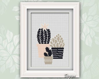 Cactus Cross Stitch Modern Embroidery Cactus Counted Cross Stitch Chart Pdf Pattern Cactus Plant Art Modern Embroidery Floral Birthday Gift