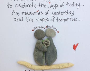 Handmade Anniversary Pebble Picture, Personalised, Driftwood, Wedding, Gift