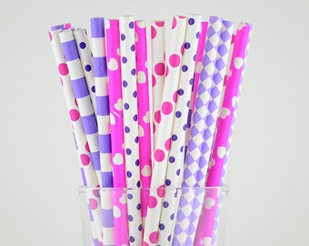 Pink And Purple Paper Straws Mix - Party Decor Supply - Cake Pop Sticks - Party Favor