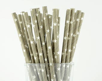 Grey Stars Paper Straws - Party Decor Supply - Cake Pop Sticks - Party Favor