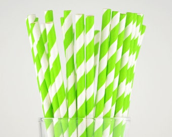Grass Green Striped Paper Straws - Mason Jar Straws - Party Decor Supply - Cake Pop Sticks - Party Favor
