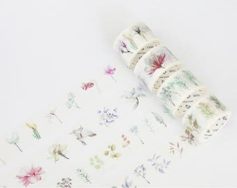 Set of 4 Rolls Leaves / Flowers Washi Tape - 30mm x 7m - Gift Wrapping - Decorative Tape - Scrapbooking Sticker