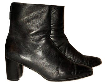Vintage 90's Stuart Weitzman Black Leather Ankle Boots, Black Leather Booties, Heeled Boots