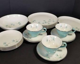 Vintage Midcentury Taylor Smith Blue Lace Dish Set Dinner Plates Platter Bowl