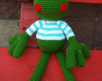 Knitted frog toy 35 cm
