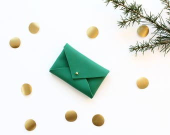 Green tree - leather card holder