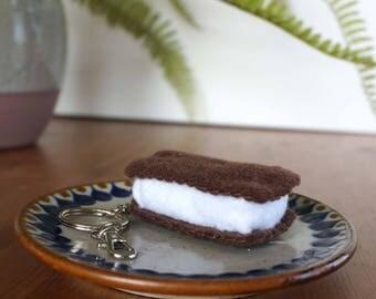 Felt food ice cream sandwich keychain | dessert purse charm | bag accessory