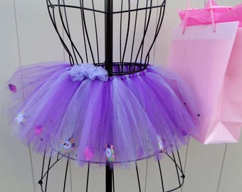TUTU Skirt for Girls Purple & lavender with knitted flowers, petals, rhinestones. Matte and Shimmer Tulle - Purple Rain. -SHIPS FREE!!!