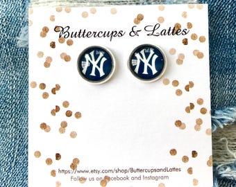 New York Yankees Inspired Stud Earrings 12mm