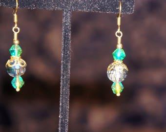 Green Crystal and Silver Dangle Earrings - Vintage Looking