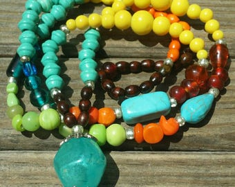 Turquoise and yellow necklace and bracelet set.