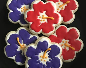 Hawaiian Hibiscus Sugar Cookies (1 dozen)