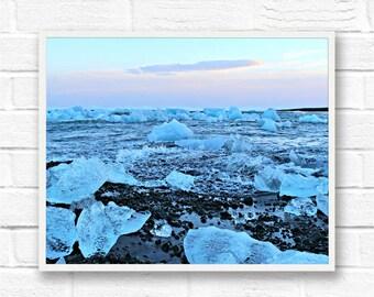 Jokulsarion Glacier Lagoon Landscape Print - High Quality Photo for Wall Art
