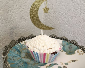Crescent and moon dessert topper or decorative piece