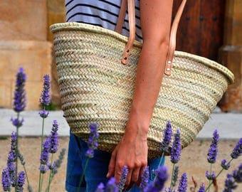 Basket straw bag Handmade with long handles - Summer carrycot bag, palm tree leaves bag, straw bag, french market basket