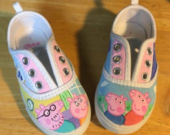 Peppa pig inspired hand painted shoes-made to order