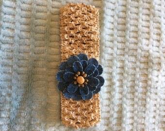 Infant/Toddler Crochet Headband with Denim Flower