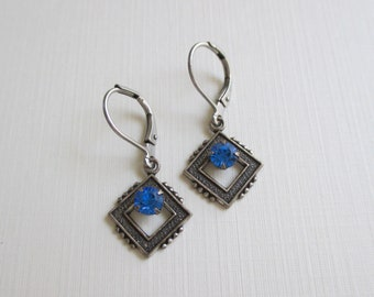 Art Deco Revival Earrings - Sapphire Colored Blue Rhinestones - Vintage Earrings