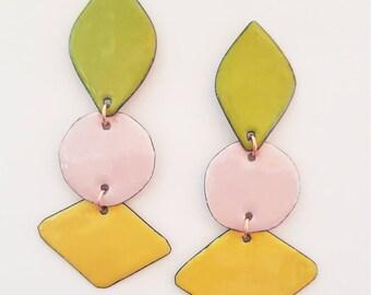 enamel on copper earrings - clover triples