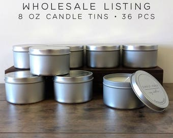 WHOLESALE CANDLES   36 pcs   8 oz Soy Candle Tins, Soy Wax Candles, Scented Candles, Natural Candles, Bulk Candles, Modern Farmhouse Decor