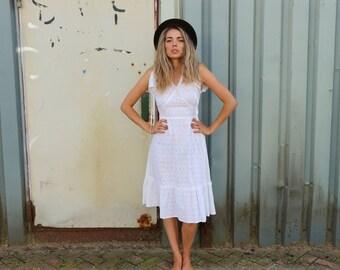 70's broderie dress, hippie dress, bohemian dress, boho dress