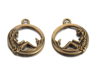 20 Antiqued Bronze  Mermaid Charms 20 x 17mm