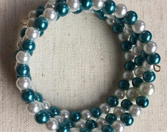 Teal and White Glass Pearl Wrap Bracelet//Gifts//Wedding//One Size Fits Most