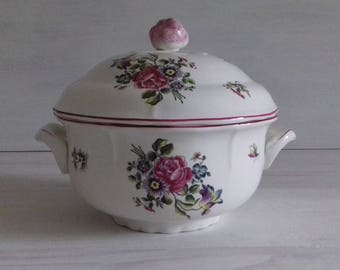 Vintage St Amand tureen white floral pattern series limited 1950 french tureen, st amand France