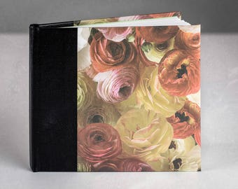 Small Blank Journal, Hardcover, White Cotton Paper - Flowers