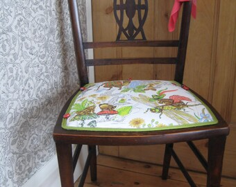 Arts and Crafts Occasional Chair, Newly Traditionally Upholstered in Vintage Children's Fabric by Ledward & Co
