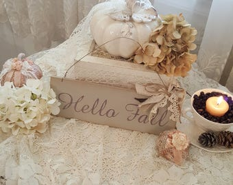 Vintage Hanging Wood Sign - Hello Fall