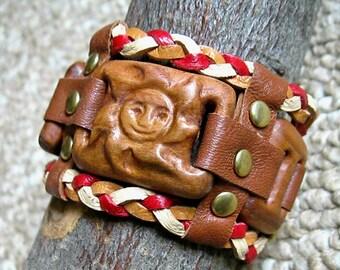 Kids Bracelet- Kids Wood Bracelet- Teen Bracelet- Teen Wood Bracelet- Wooden Bracelet for Kids- Wood and Leather Bracelet- Kids Jewelry