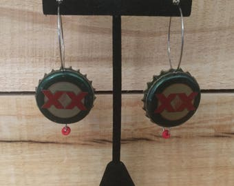 Dos Equis beerings are made from up-cycled beer bottle caps.
