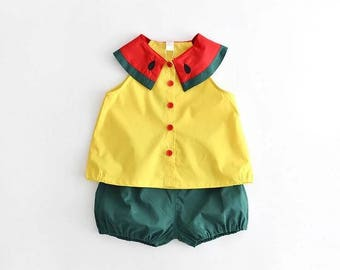 Watermelon Toddler Wear, 2 Piece Set, Trendy Kids Clothes, Fashion Kids Clothes, Summer Wear, Kids Clothes, Fun Kids Wear, Toddler Wear