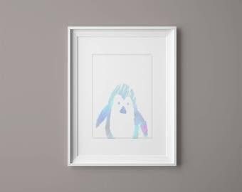 A3 Blue Penguin Print