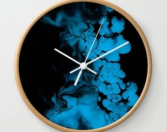 Wall Clock, Original Art Print Clock, Interior - Blue Darkness. Custom Order, Pre Order